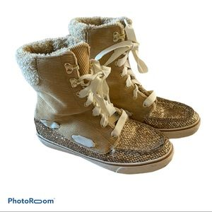 Gold Sperry boots